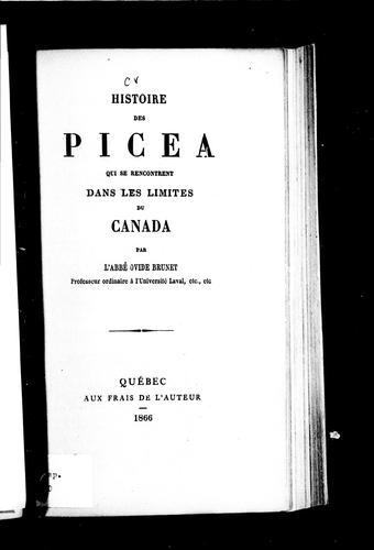 Histoire des Picea qui se rencontrent dans les limites du Canada