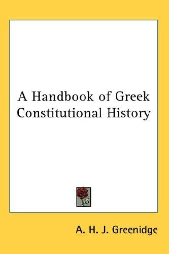 A Handbook of Greek Constitutional History
