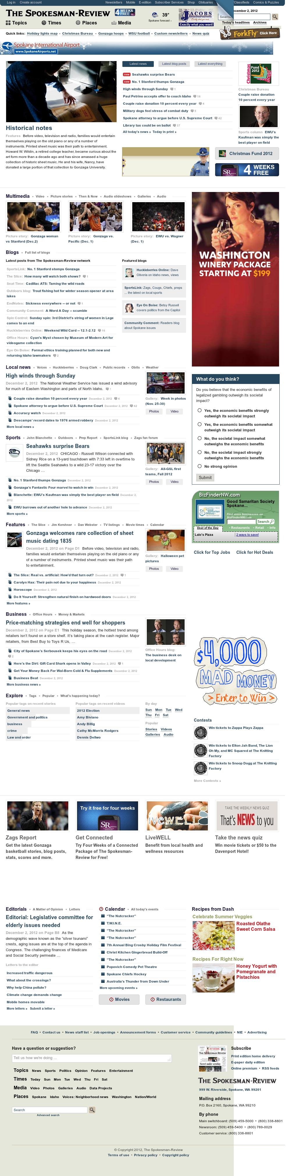 The (Spokane) Spokesman-Review at Monday Dec. 3, 2012, 4:30 a.m. UTC