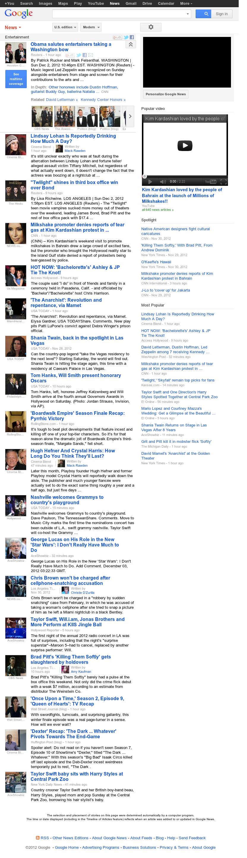 Google News: Entertainment at Monday Dec. 3, 2012, 4:13 a.m. UTC