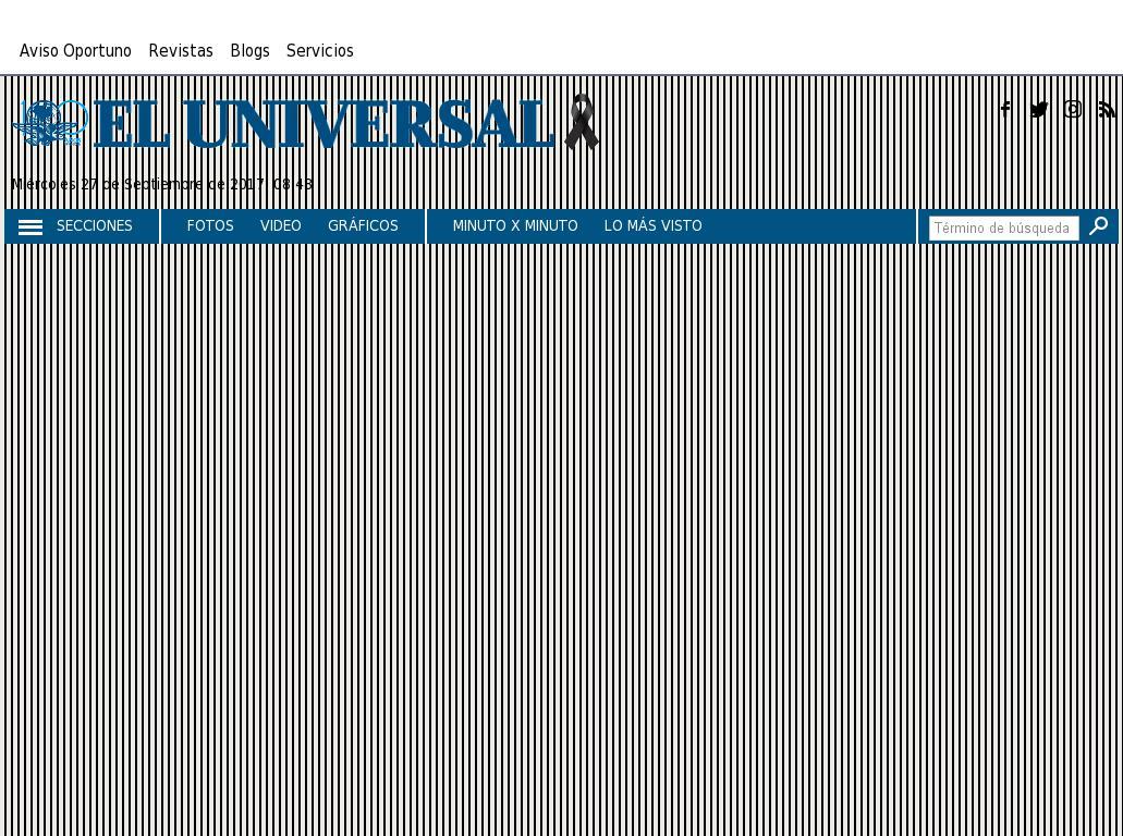 El Universal at Wednesday Sept. 27, 2017, 1:48 p.m. UTC