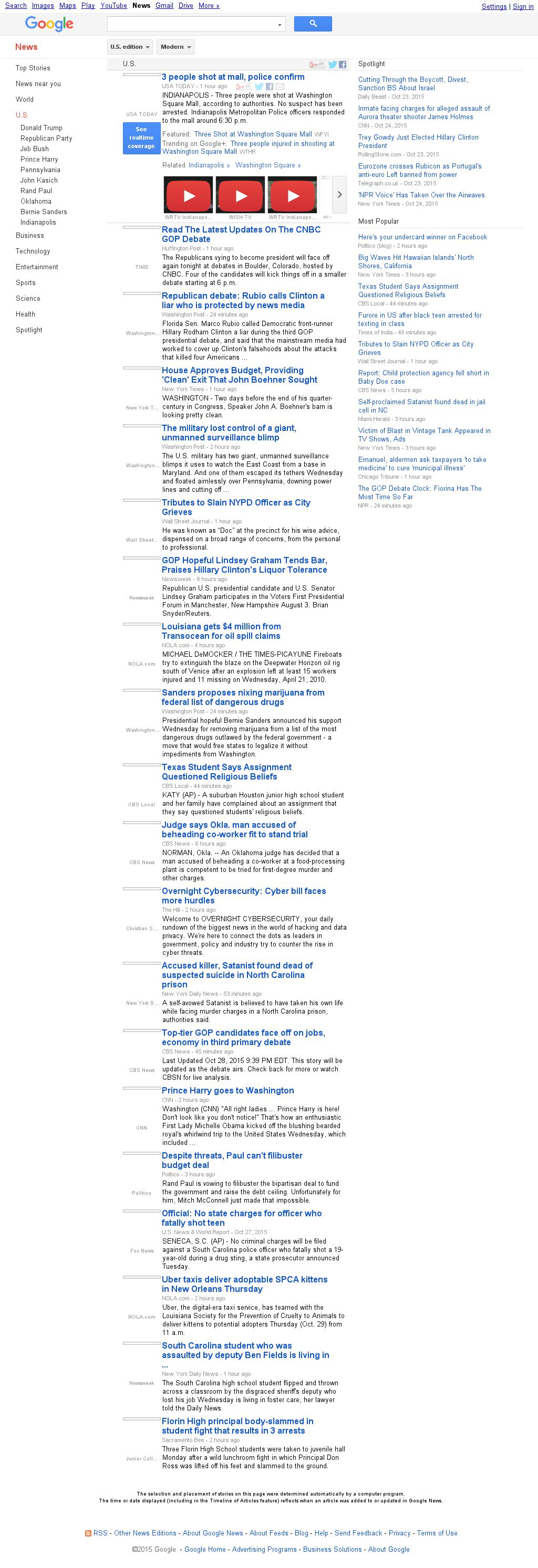 Google News: U.S. at Thursday Oct. 29, 2015, 2:07 a.m. UTC