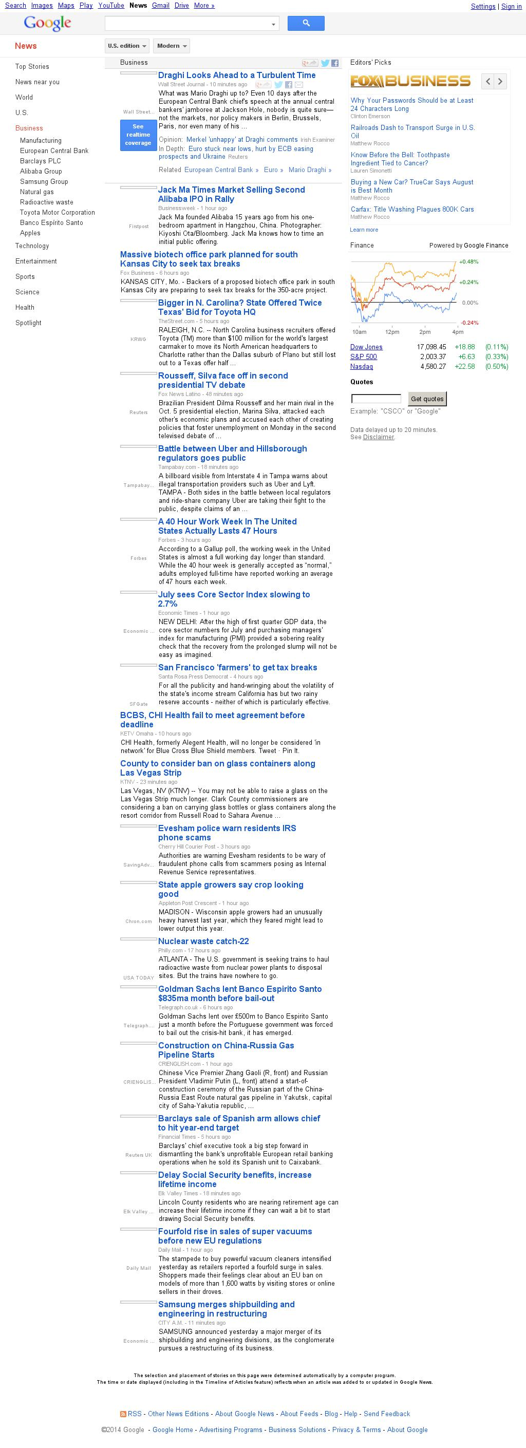 Google News: Business at Tuesday Sept. 2, 2014, 1:08 a.m. UTC