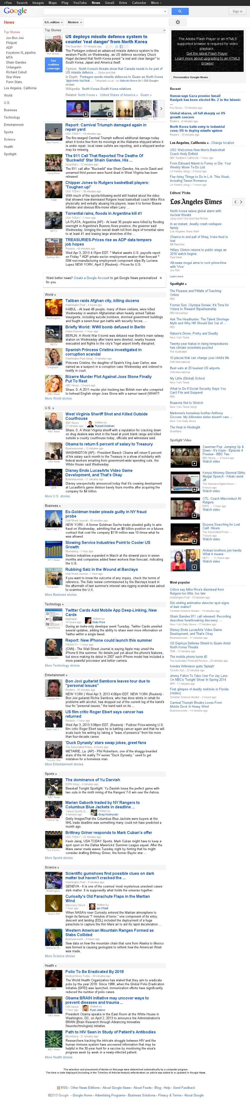 Google News at Wednesday April 3, 2013, 9:06 p.m. UTC