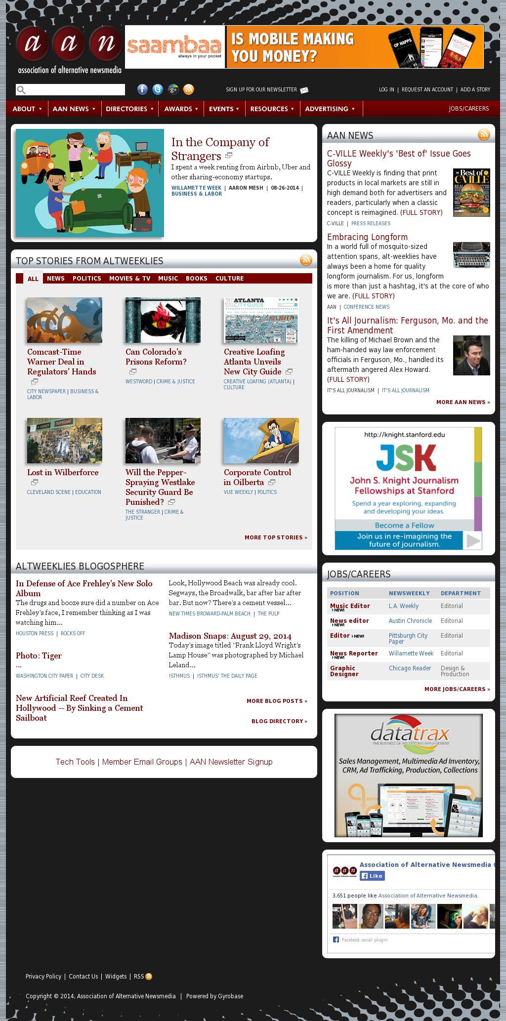 Association of Alternative Newsmedia at Friday Aug. 29, 2014, 3 p.m. UTC