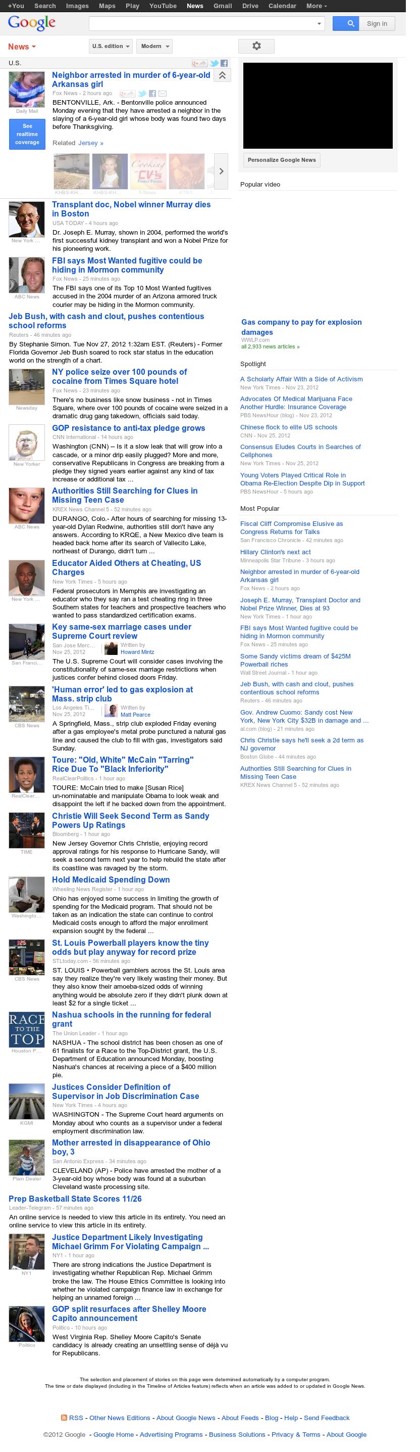 Google News: U.S. at Tuesday Nov. 27, 2012, 7:14 a.m. UTC