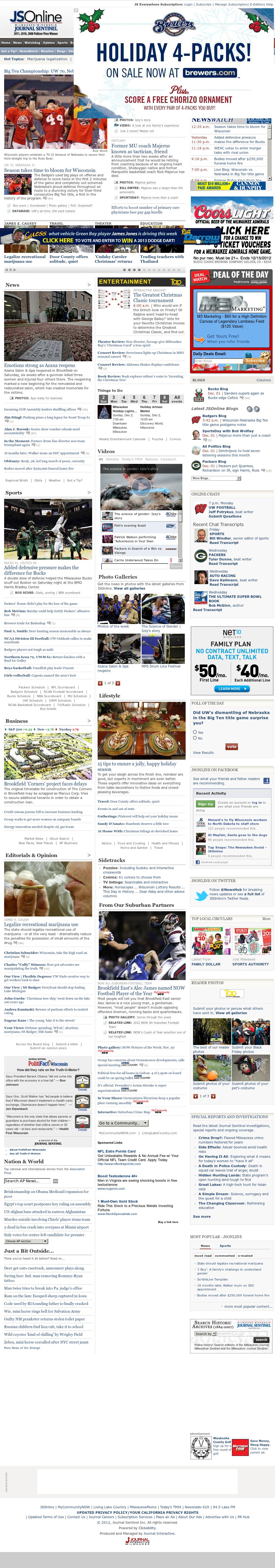 Milwaukee Journal Sentinel at Sunday Dec. 2, 2012, 12:17 p.m. UTC