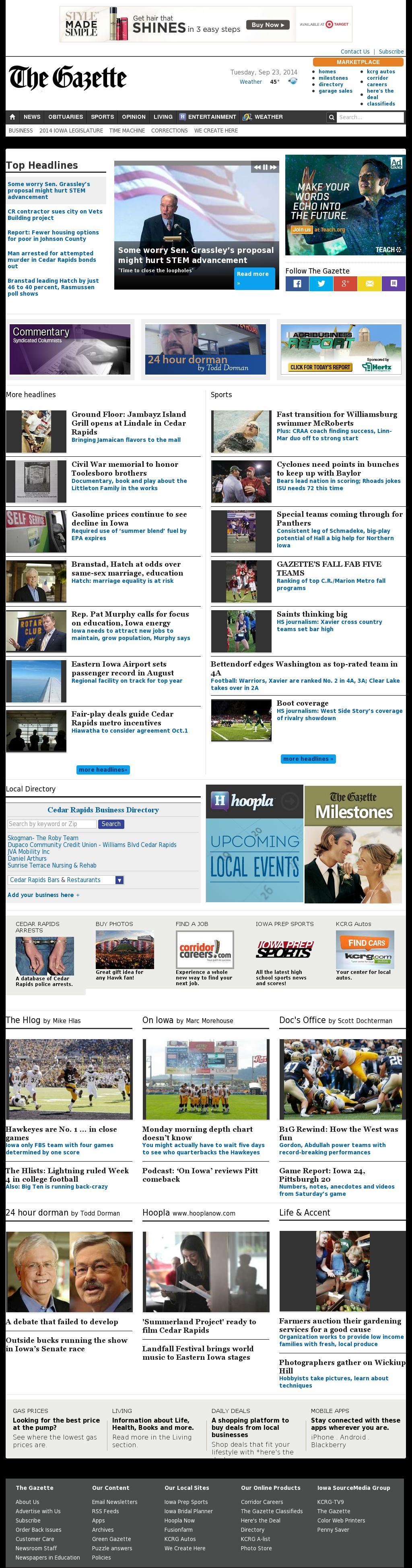 The (Cedar Rapids) Gazette at Tuesday Sept. 23, 2014, 1:05 p.m. UTC