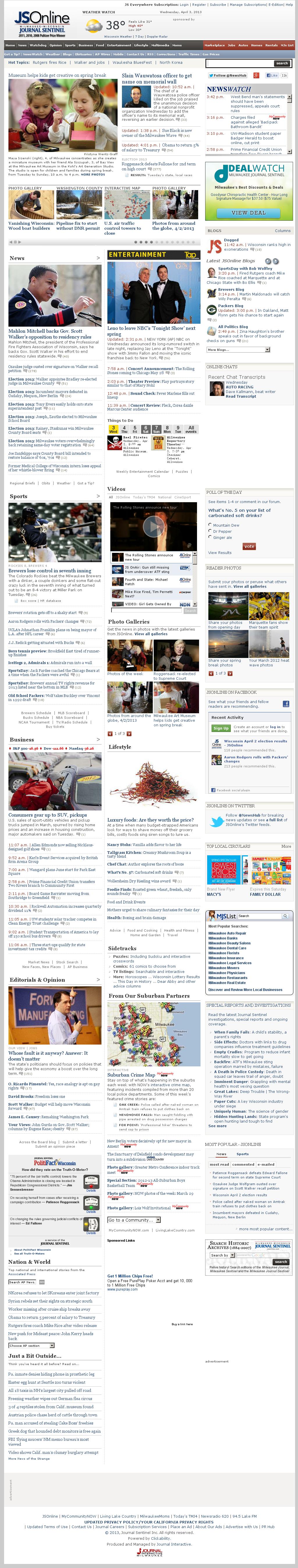 Milwaukee Journal Sentinel at Wednesday April 3, 2013, 9:12 p.m. UTC