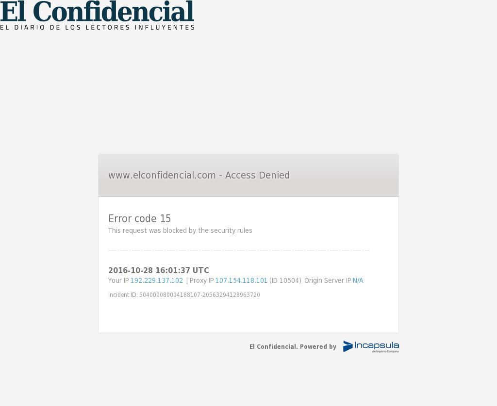 El Confidencial at Friday Oct. 28, 2016, 4:03 p.m. UTC