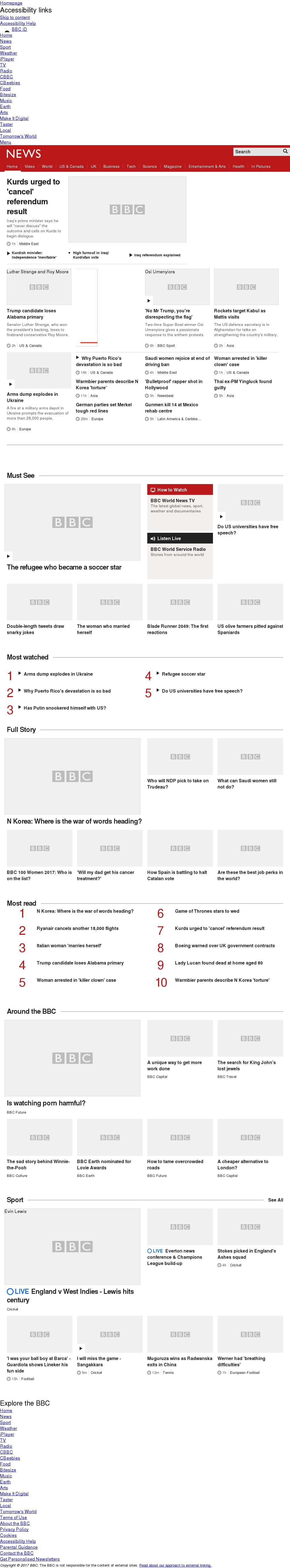 BBC at Wednesday Sept. 27, 2017, 2 p.m. UTC