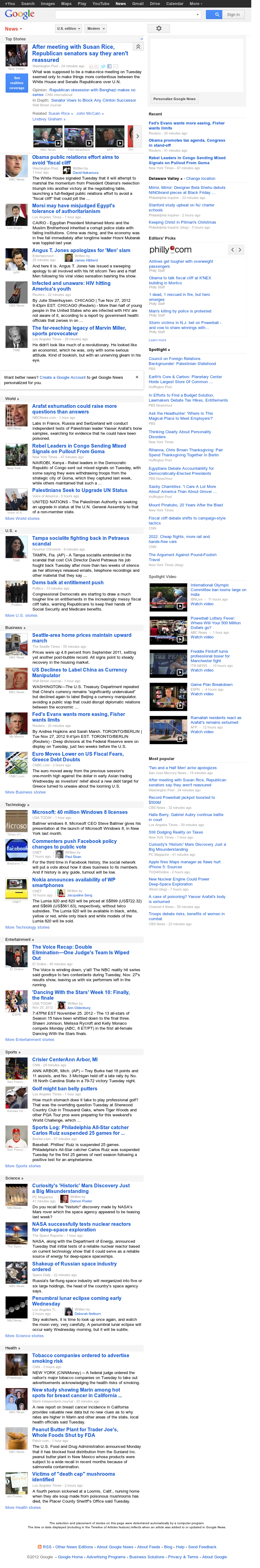 Google News at Wednesday Nov. 28, 2012, 3:15 a.m. UTC
