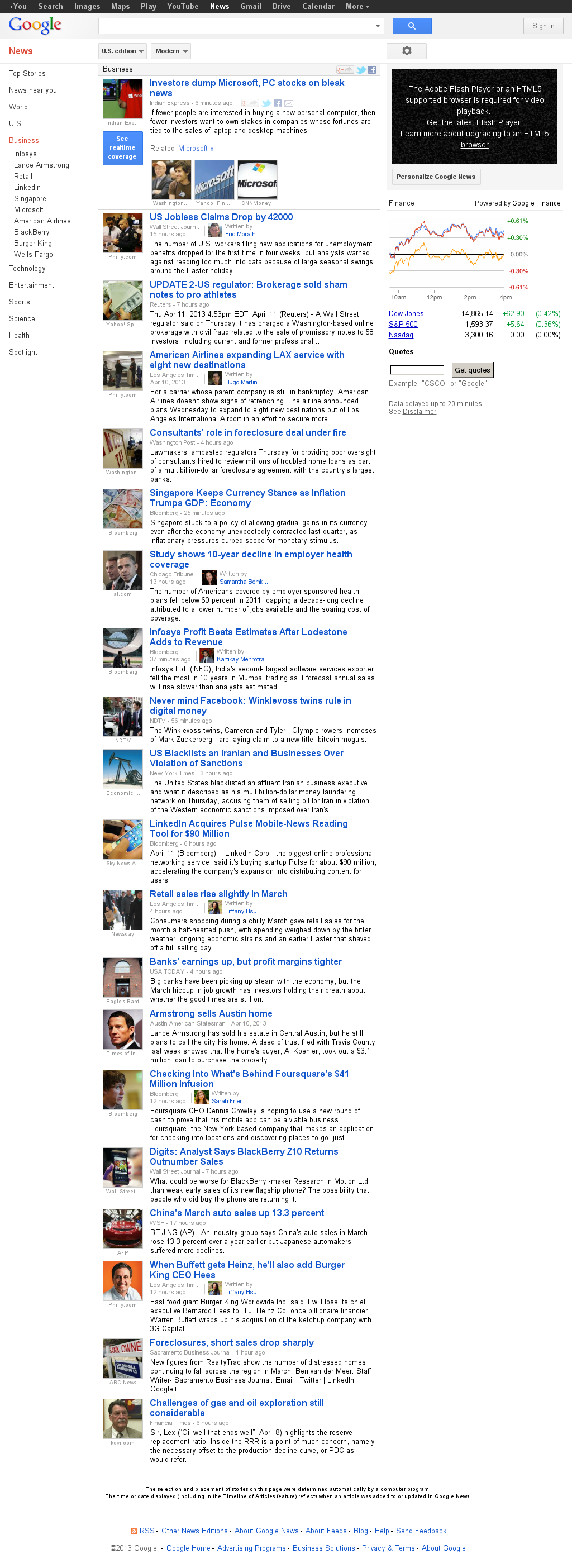 Google News: Business at Friday April 12, 2013, 4:10 a.m. UTC