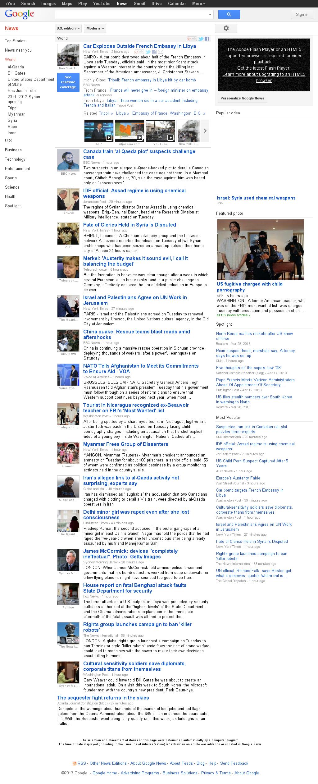 Google News: World at Wednesday April 24, 2013, 3:11 a.m. UTC