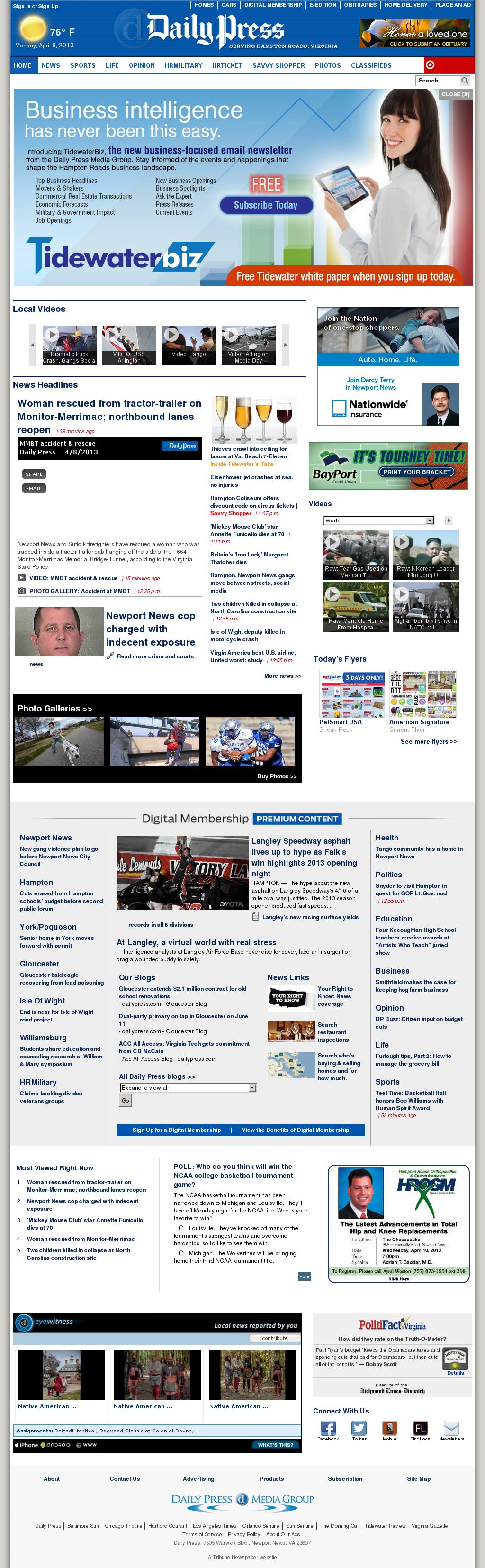 (Hampton Roads) Daily Press at Monday April 8, 2013, 7:04 p.m. UTC