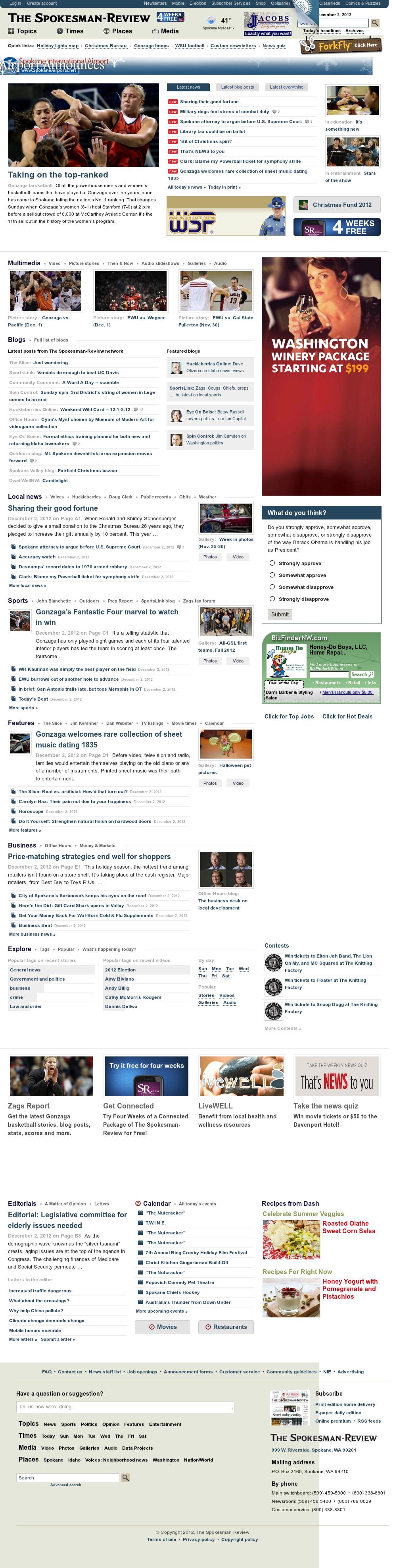 The (Spokane) Spokesman-Review at Sunday Dec. 2, 2012, 10:20 a.m. UTC